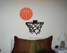 Basketball with Goal Net Vinyl Wall Art Decal Stickers
