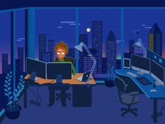 Office Illustration, Check complete project on Behance. https://www.behance.net/gallery/29756379/Flat-Illustrations