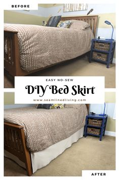 How to Make a Quick No-Sew Bed Skirt - DIY Project | Seamlinedliving.com