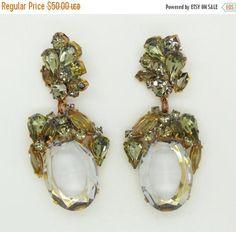 ON SALE Czech Glass Smoke Grey Dangle Pierced Style Earrings