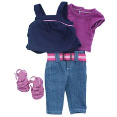 My Salon Doll: The ONLY doll with REAL HAIR!  Next in our long list of outfits is this cute and casual combination.  Matching magenta shirt and sandals, navy tank, and denim capris.  Look great in casual!