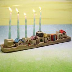 Jewish Menorah for Hanukkah by ednapio on Etsy Jewish Menorah, Jewish Hanukkah, Hanukkah Menorah, Happy Hanukkah, Hanukkah Candles, Hanukkah Decorations, Clay Houses, Ceramic Houses, Miniature Houses
