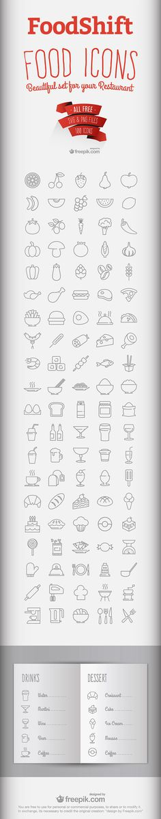 FoodShift - Free Food & Drink Icon Set (2.3 MB) | instantshift.com