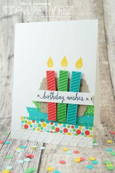 Stampin 'Up! _Geburtstagskarte_Build A Birthday_Flüsterweiß_Melonensorbet_Gartengrün_Bermudablau_Savanne_Curry Gelb_Mini Dreiecke_Washi Tape_Motivklebeband Colorful Party_Designerpapier in block Colorful Party_2
