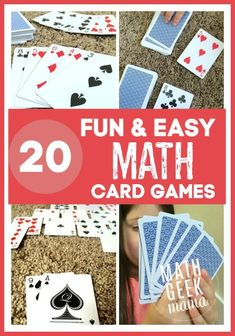 Math games 363384263686423929 - A great collection of fun math card games! These are easy, and in most cases all you need is a deck of cards! Source by mathgeekmama Easy Math Games, Math Card Games, Fun Educational Games, Kindergarten Math Games, Card Games For Kids, Fun Math Activities, Dice Games, Math Math, Teaching Math