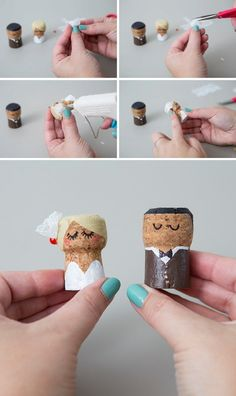 You HAVE To See These DIY, Painted Champagne Cork Bride + Groom! OMG, these DIY champagne cork bride and groom cake toppers are the cutest thing ever! Diy Wedding Presents, Wedding Present Ideas, Wedding Gifts For Bride And Groom, Diy Wedding Decorations, Bride Gifts, Bride Groom, Champagne Cork Crafts, Champagne Corks, Wine Cork Crafts
