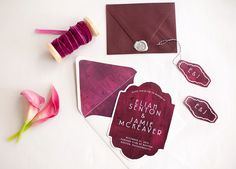 Painted canvas wedding invitations!  Such rich, bold colors! xo