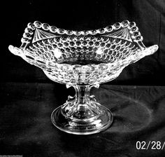 "EAPG ""Thousand Eye"" aka ""Sensation"" pattern Compote made by Adams & Co. circa 1885, 6.5""H x 7.75""W (10.25"" corner to corner)"
