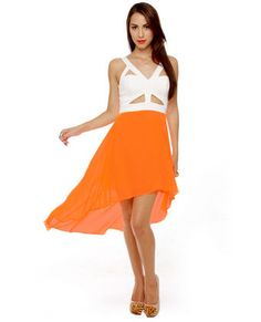 For Keeps Ivory and Neon Orange Dress