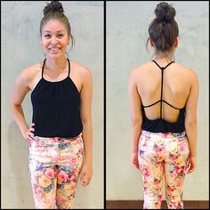 Carla from our Sq One location rocking this flirty backless tank with our floral pants - looks amazing! Floral Pants, Centre, Backless, My Style, Amazing, Swimwear, Clothes, Shopping, Fashion