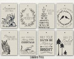 Printable Christmas Tags  Rustic Christmas Tags  by LadybirdPress, $5.00