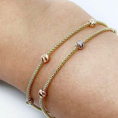 Double Chain Satellite Bracelet / Gold Beaded Ball Bracelets / Dew Drop Chain Bracelet / 14K Solid Gold Dainty Beaded Bracelet Layered Bracelets, Beaded Bracelets, Solid Gold Bracelet, Double Chain, Healing Bracelets, Gold Beads, Gifts For Her, Chains, Delicate