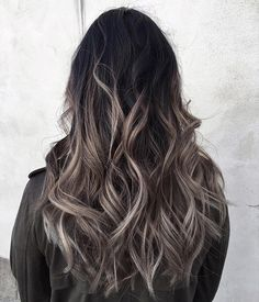 45 Balayage Hair Color Ideas to Inspire Your Next Salon Appointment : popsugar beauty Ombre Hair Color, Hair Color Balayage, Ash Ombre Hair, Dark Brunette Balayage Hair, Ash Hair, Haircolor, Colored Highlights, Hair Highlights, Black Hair With Grey Highlights