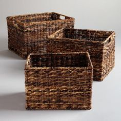 "Madras Rectangular Baskets  $25 - $35  Small: 11""W x 14""D x 9.5""H Medium: 16""W x 13""D x 10.5""H Large: 18""W x 15""D x 11.5""H"