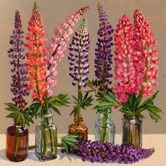 Flower painting 'Lupines' by Lucy Culliton