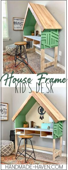 Build a fun Kids Desk with a house frame shape. Get the kids motivated for school. #kidsdesk #houseframe #diy