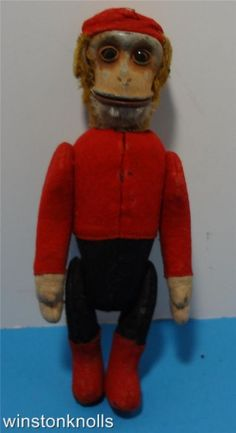 SCHUCO VINTAGE BELLHOP MONKEY YES NO MOVING ARMS AND LEGS  TAIL SOME FELT LOSS