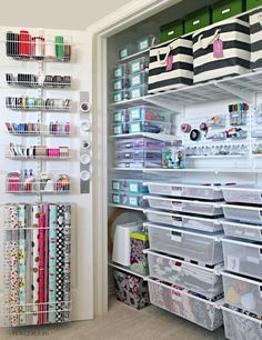 The Ultimate Craft Closet Organization - Basteln Organisation Craft Closet Organization, Organisation Hacks, Craft Room Storage, Closet Storage, Craft Rooms, Organizing Ideas, Pantry Storage, Organising, Gift Bag Storage