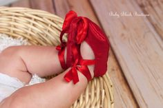 Red Taffeta Baby Shoes Soft Ballerina Slipper by babyblushboutique