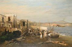 Scene at the gulf of Naples by Robert Alott