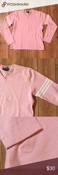"""90's Adidas VNeck Sweater Pink Climalite Adidas VTG Sweater Black. Size M. IUC no visible pulls or damage. Cotton/spandex blend. 18"""" chest, 23"""" length. adidas Sweaters V-Necks"""
