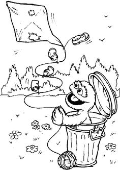 Coloring page of Oscar the Grouch and I love Trash sign Oscar