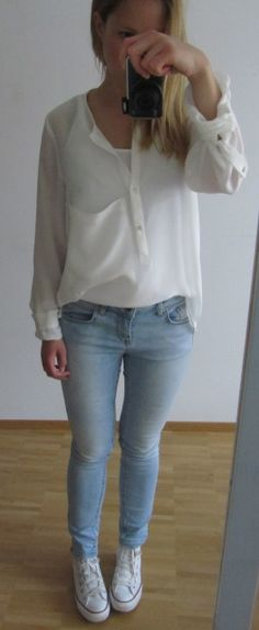 white blouse, light blue jeans, white converse