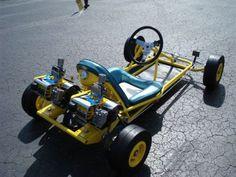dual mac 10 go kart - Google Search Vintage Go Karts, Vintage Cars, Go Kart Designs, Mopar, Ducati, Formula 1, Go Kart Plans, Vespa, Go Kart Racing