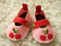 Pink Mary Janes with Red Cherries  Felt Baby by sweetemmajean, $48.00