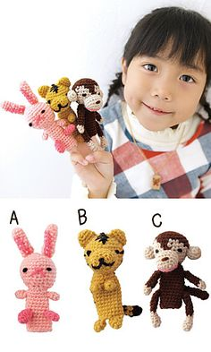 Ravelry: amicomo5-10 C -  Finger puppets pattern by Pierrot (Gosyo Co., Ltd) - here's the link of the pdf pattern: http://gosyo.co.jp/english/pattern/eHTML/ePDF/1005/w2/amicomo5-10_Fingerpuppets.pdf