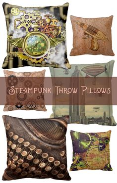 You will find gears, pipes, clocks, hot air balloons… Steampunk Bedroom, Steampunk House, Steampunk Diy, Punk Decor, Amber Room, Teen Girl Bedding, Up House, Pillow Room, How To Make Pillows
