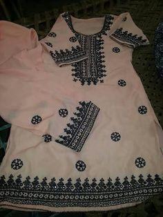 Hand Embroidery Designs, Embroidery Patterns, Baby Girl Dress Patterns, Home Decor Baskets, Pakistani Dresses Casual, Batik Fashion, Fabric Hearts, Kurti Neck Designs, Dress Indian Style