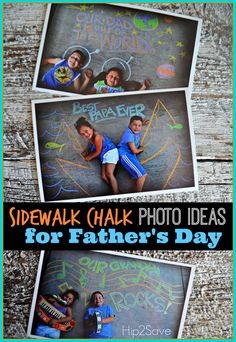 Sidewalk Chalk Photo Ideas for Father's Day - what a fun idea! Diy Father's Day Gifts Easy, Homemade Fathers Day Gifts, Great Father's Day Gifts, Father's Day Diy, Fathers Day Crafts, Gifts For Kids, Diy Gifts, Diy Presents, Fathers Day Pictures