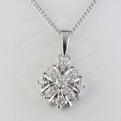 Free Pouch Round Cut D/VVS1 Diamond 14K White Gold Plated Women's Fancy Pendant #giftjewelry22 #Pendant