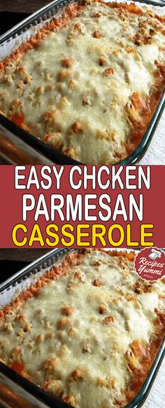 EASY CHICKEN PARMESAN CASSEROLE This Easy Chicken Parmesan Casserole is one of the easiest casserole recipes ever. Zero precooking because the chicken cooks in the casserole! A perfect dish to prep ahead of time and stick in Ww Recipes, Italian Recipes, Cooking Recipes, Dump Recipes, Recipies, Italian Meals, Dinner Recipes, Freezer Recipes, Turkey Recipes
