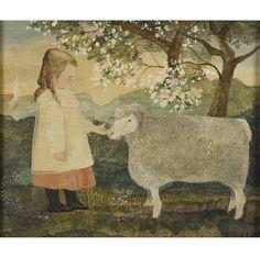 Folk art - Jeanne Davies( American, c. Primitive Painting, Primitive Folk Art, Painting Snow, Painting & Drawing, Illustrations, Illustration Art, Monet, Sheep Art, Mary Cassatt