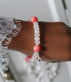 Rosenquarz - Rosenquarz Citrin Koralle Stretch Armband - ein Designerstück von Morgentau-Schmuck bei DaWanda