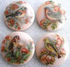 Czech Glass Bird Decal Buttons