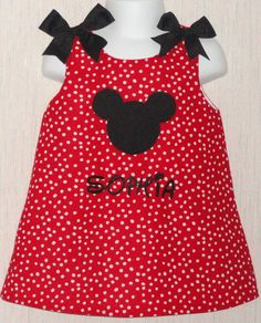 Custom Embroidered Monogram Boutique Personalized Mickey Mouse Disney Dress Free Hair Bow. $29.99, via Etsy.