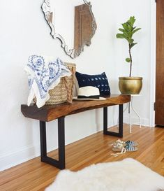 Feeling the need to dust off your DIY skills and tools? 🛠 We thought we'd bring you a little inspiration with these DIY ideas using live edge wooden slabs.  These beautiful live edge furniture pieces are an easy way to incorporate a rustic and natural element into your living space. Teak Garden Furniture, Live Edge Furniture, Furniture Projects, Rustic Furniture, Diy Furniture, Diy Projects, Carpentry Projects, Industrial Furniture, Project Ideas