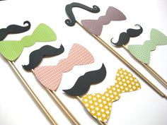 Photo Booth Props on a Stick  Mustaches and Bow. OMG, yes! BOW TIES!