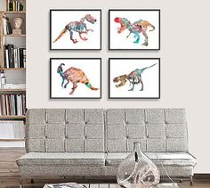 Dinosaur Art Print - Kids Wall Decor - Children Art  SET OF 4 PRINTS. THE SIZE IS FOR EACH PRINT!  This is high quality giclee art prints of my artworks on quality matte 240gsm watercolor paper and canvas ( for the largest sizes). Available sizes are shown in the SELECT A SIZE drop down menu above the ADD TO CART button. If you need other size, please contact me.  Please READ the shop policies and listing description (specially paper, dimensions and delivery times about) thoroughly, before…