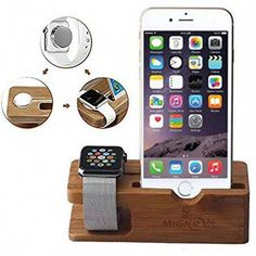 on sale abfa9 52e7b Apple Watch Stand, Gold Cherry bamboo charging dock Station charger holder  stand for Apple Watch Iwatch series 1 iPhone 5 6 6 Plus 7 7 Plus 8 8 Plus  iPhone ...