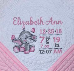 Personalised Luxury Baby Blanket ELEPHANT birth BLOCK Boy Girl New  Birth Gift