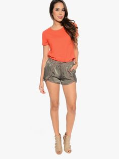 Olive Soft as Satin Elastic Waist Short | $10 | Cheap Trendy Shorts Chic Discount Fashion for Women #ModDeals #HelloGorgeous