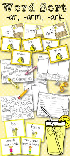 Word Sort ar, arm, and ark. For Harcourt Trophies Lemonade for Sale. Teaching Phonics, Teaching Language Arts, Teaching Tools, Teaching Resources, Elementary Teacher, Elementary Education, Art Education, Guided Reading, Teaching Reading
