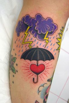 cloud, lightning, and umbrella by marco teixeira #tattoos