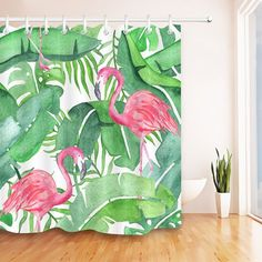 Tropical Pink Flamingo Fabric Shower Curtain #flamingos #pinkflamingos #homedecor #showercurtain #flamingodecor #bathroomdecor