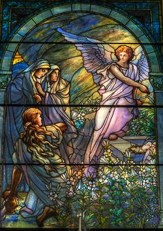 The Empty tomb - Tiffany window in St George's Episcopal Church, Newburgh, NY Stained Glass Church, Stained Glass Angel, Tiffany Stained Glass, Tiffany Glass, Stained Glass Windows, Leaded Glass, Mosaic Glass, Church Windows, Angel Art