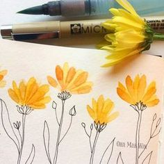 Watercolor flower petals with pen and ink stem